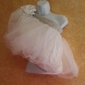 Custom Order White & Silver Tulle Babydoll Top